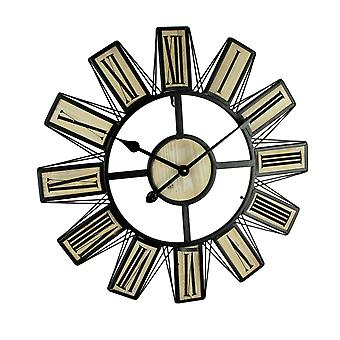 Black Metal and Wood Open Frame Modern Art Oversized Wall Clock 23 inch