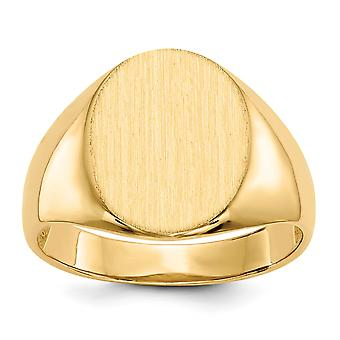 14k Yellow Gold Solid Polished Open back Engravable Mens Signet Ring Size 10 Jewelry Gifts for Men