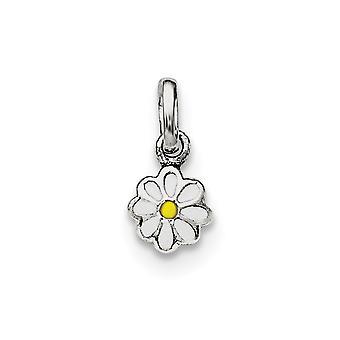 925 Sterling Silver Rh Plated for boys or girls White and Yellow Enamel Daisy Pendant Necklace