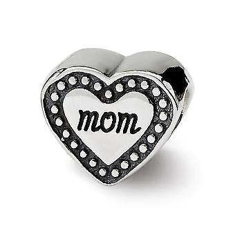 925 Sterling Silver Antique finish Reflections Mom Heart Bead Charm