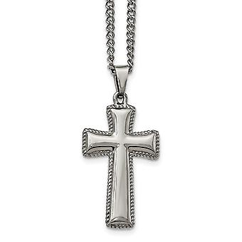 Stainless Steel Polished Cushion Religious Faith Cross Necklace 24 Inch Jewelry Gifts for Women