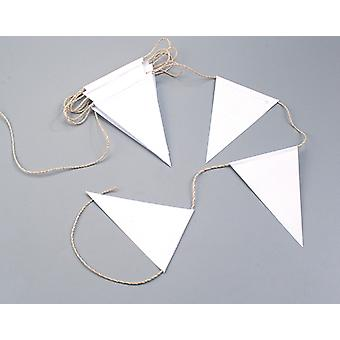 5m White 20cm Tall Bunting to Decorate on Natural Twine