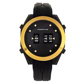 MORPHIC M76 serie drum-roll riem horloge-zwart/goud