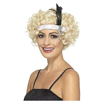 Womens branco cetim de 1920 Charleston Headband vestido extravagante acessório