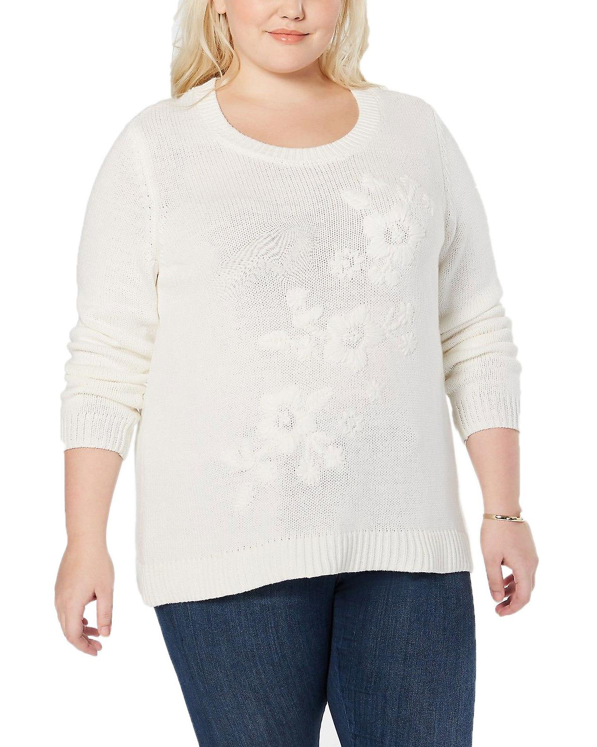 Style & Co Plus Size Tonal Flower Embroidered Sweater