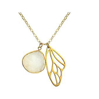 Gemshine halskjede anheng sommerfugl vinger sølv DRUZY hvit