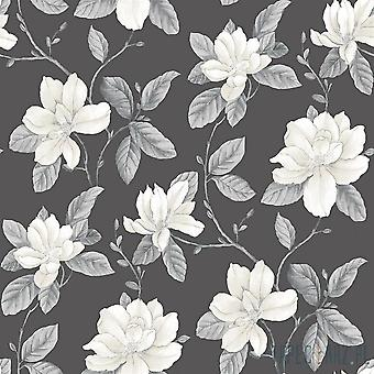 Watercolours Charcoal White Floral Wallpaper Lily Flowers Botanical Galerie