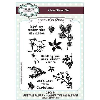 Creative Expressions Lisa Horton Festive Flurry A5 Clear Stamps - CEC864 Under The Mistletoe