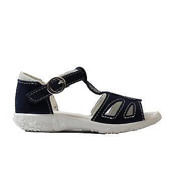 Ricosta Pippa 6429400-174 Navy Nubuck Leather Girls T Bar Sandals