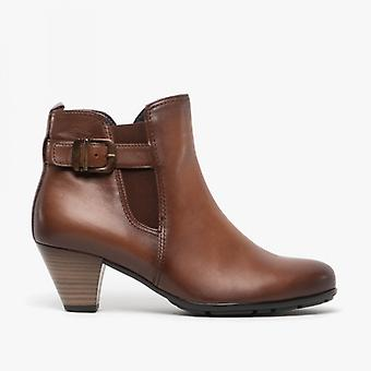 Gabor Tamarind Ladies Leather Ankle Boots Brown