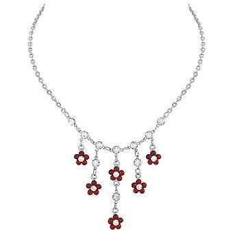 Eternal Collection In Bloom Clear Crystal And Red Cat's Eye Silver Tone Necklace