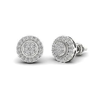 IGI Certified S925 Sterling Silver 0.50Ct Natural Diamond Halo Stud Earrings