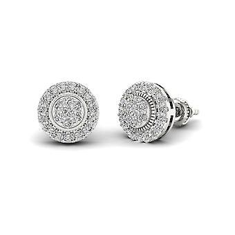Igi sertifioitu s925 sterlinghopea 0.50ct luonnollinen timantti halo stud korvakorut