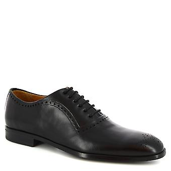 Leonardo Shoes Men's handmade half brogues oxford shoes in black calf leather
