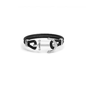 MÄN i GUESS UMB78004 gissa armband - armband svart läder stål mannen ankare