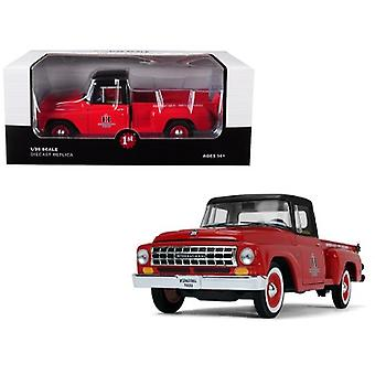 International C1100 International Trucks Pickup Truck Red With Black Top 1/25 Diecast Model Car By First Gear