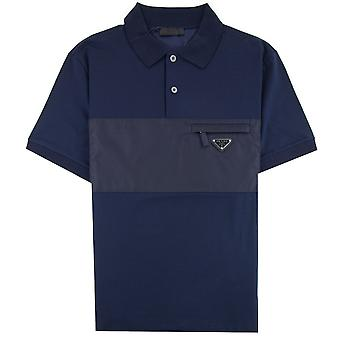Prada Metal Logo Stretch Cotton Polo Shirt Navy