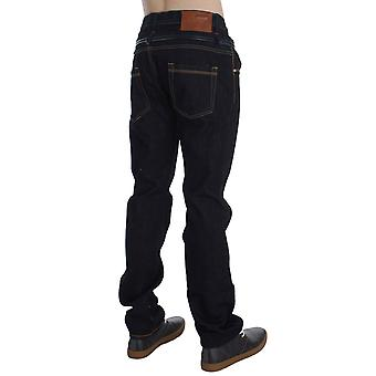 Acht Blue Cotton Regular Straight Fit Jeans Visible Hem