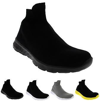 Mens Lightweight Sock Slip On Walking Sport Running Prime Knit Trainer UK 6-14