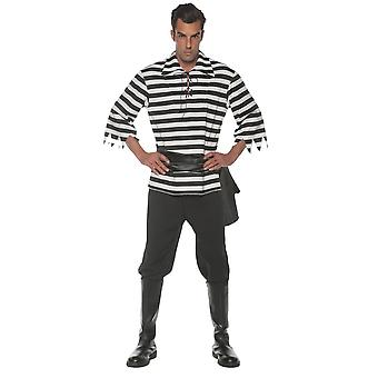 stripete pirat voksen kostyme svart