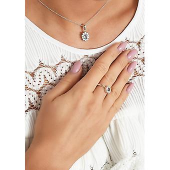 اه! مجوهرات الجنيه الاسترليني الفضة حقيقية 1.45ct السماء الزرقاء توباز قلادة