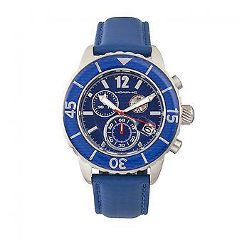 Morphic M51 Series Chronograph nahka-bändi katsella w/päivä-hopea/sininen