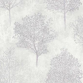 698103 - Silva Woods Grå & Mauve - Arthouse Wallpaper
