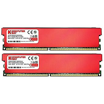 Komputerbay 8GB (2 x 4GB) DDR2 DIMM (240 pins) 800MHZ PC2-6400 PC2-6300 RAM Desktop with heat sinks in red for additional cooling CL 5-5-5-12