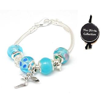 Toc Beadz Sterling Silver Fairy Blue Bead Charm Bracelet