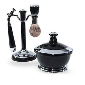 FMG 4 Piece Shaving Set Badger Brush Bowl & Mach 3 Razor - Black