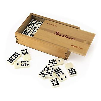 Dominoes 9's with Spinners in Wooden Case