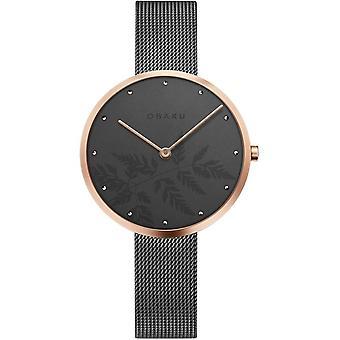 Obaku Hassel Natur Granite Grey Tone Women's Wristwatch V219LXVKMJ