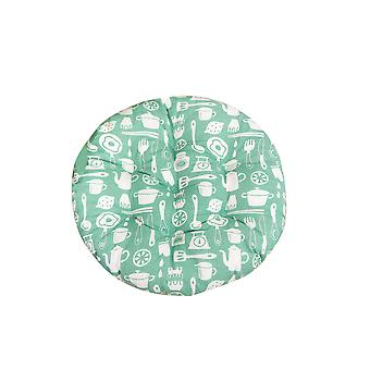 Round cotton and linen nine nail printed cushion