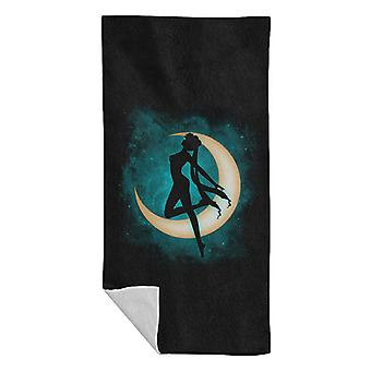 Sihouette Under Sailor Moon Beach Towel