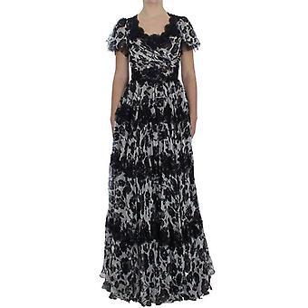 Dolce & Gabbana Sort Silke Blomstermotiver Lace Ricamo Ball Maxi Kjole