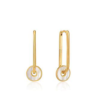 Ania Haie Hidden Gem Shiny Gold Mother Of Pearl Disc Hoop Earrings E022-04G