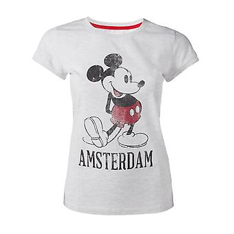 Official Disney Mickey Mouse Grey Vintage Look Amsterdam Women's T-shirt