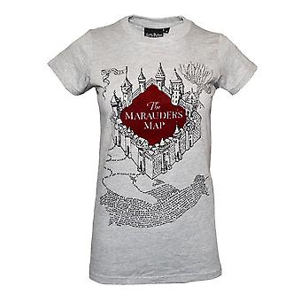 Donne 's Harry Potter Marauders Mappa Flocked Fitted T-Shirt