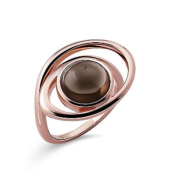 Orphelia Silver 925 Ring with Smokey Quartz Rose Gold plated