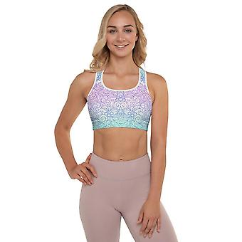 Padded Sports Bra | Doodles in Pastel Colors