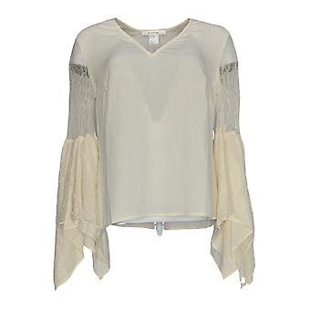 K Jordan Women's Top Lace Bell-Sleeve Natural Ivory