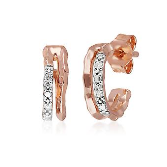 Diamond Pavé Double Hammered Mini Hoop Earrings in 9ct Rose Gold 191E0405019