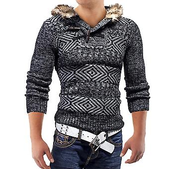 MC Grobstrick Pulli Strickjacke Pullover Sweatjacke Sweatshirt Strick mit Fell-Kapuze