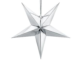 Silver Paper Hanging Star Decoration 70cm Christmas Wedding