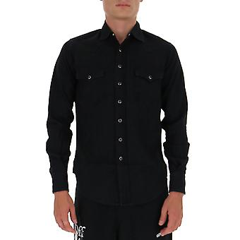 Saint Laurent 597059y880s1001 Men's Zwart Katoen shirt