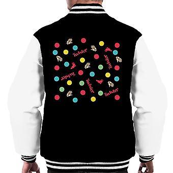 Twister Mat Circles And Red Logo Men's Varsity Jacket