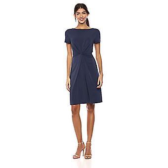 Merk - Lark & Ro Women's Crepe Knit Short Sleeve Center Twist Dress, Navy, 14