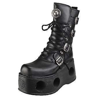 New Rock Space Metallic Neptuno Boots Unisex Platform Boots in Black