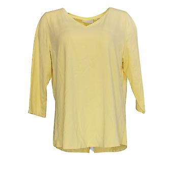Belle by Kim Gravel Women's Top TripleLuxe 3/4 Sleeve V-Neck Yellow A374459
