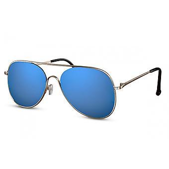 نظارات شمسية المرأة الطيارة الفضية / الزرقاء (CWI1489)